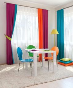 The curtains! Home Curtains, Interior, Curtains Living Room, Decor Design, Colorful Curtains, Window Decor, Curtains, Colourful Living Room, Home Deco