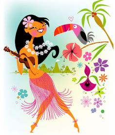hula girl with guitar & toucan, by Kirsten Ulve