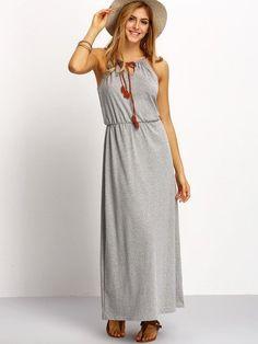 Grey Spaghetti Strap Keyhole Front Maxi Dress