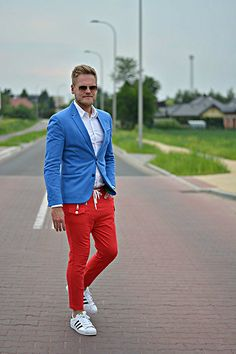 Adidas Superstar, Rage Age Red Pants, Zara Blue Jacket . Casual sporty style