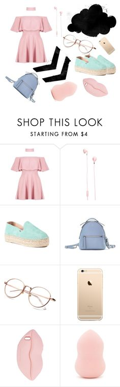 """""""Off-Shoulder Dress"""" by fashionlovesmia ❤ liked on Polyvore featuring Boohoo, Urbanears, Ori & Occi, Fendi, STELLA McCARTNEY and Forever 21"""