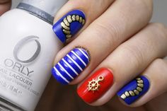 Paznokcie w stylu marynarskim/ Marine boat nail art