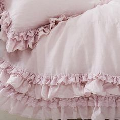 This Petticoat Pink Rachel Ashwell shabby chic bedding collection features a lavish and lovely pink linen with tiered layers of delicate lace trim inspired by a vintage Flamenco dress from Rachel's own closet. Shabby Chic Bedrooms, Shabby Chic Homes, Shabby Chic Furniture, Girl Bedrooms, Stylish Bedroom, Shabby Cottage, Romantic Bedrooms, Small Bedrooms, Guest Bedrooms
