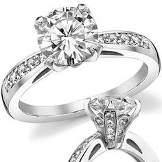 Gorgeous! Pave Engagement Ring - 1ct center, 14K white gold