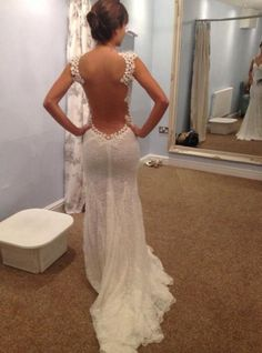 sexy,vintage,mermaid,low back lace wedding dresses http://www.promdresshouse.com/lace-wedding-dresses