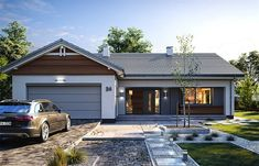 Projekt domu Parterowy 4 122,77 m2 - koszt budowy 207 tys. zł - EXTRADOM Simple House Plans, Modern House Plans, House Roof Design, California Bungalow, Pool Houses, Exterior Design, My House, New Homes, Decoration