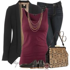 Maroon with blazer and jeans