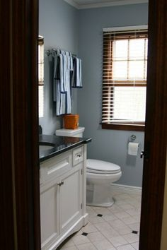 Blue pearl granite vanity top not sure i like dark - Bathroom paint colors with oak cabinets ...