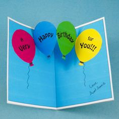 Balloon chain gluing tip Father Birthday Cards, Cute Birthday Cards, Homemade Birthday Cards, Homemade Cards, Pop Up Card Templates, Beautiful Birthday Cards, Up Balloons, Up Book, Pop Up Cards