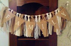 Burlap Muslin Lace Ribbon Garland on Jute for Wedding Shabby Chic Mantle Decor. $25.00, via Etsy.