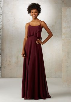Morilee by Madeline Gardner Bridesmaids Style 21515 | Romantic Chiffon Bridesmaids Dress Featuring Removable Spaghetti Straps and Flutter Neckline. Zipper Back. Shown in Bordeaux and White Smoke