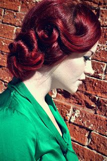 Red hair   pin up   updo   retro   wedding hair   prom   formal   redhead   victory roll   swirl   curl   dark red   bright red   color   long hairstyles