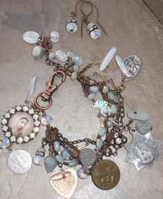 Song Sung Blue Gemstone and Antique Blue Rosary Vintage by angels9, $52.00