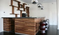 wood counters.