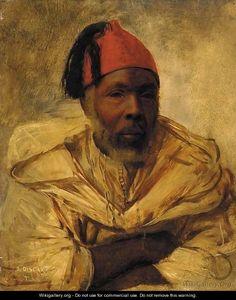 Jean Discart (1856 - 1944) ~ A Berber in a fez
