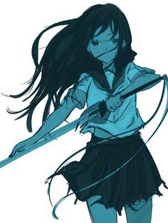 「セーラー服と日本刀」/「まちゃぴろ」の作品 [pixiv] #pixitail