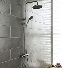Cruze Round Thermostatic Bar Shower Valve & Riser Kit - Chrome at Victorian Plumbing UK Small Cloakroom Basin, Small Bathroom, Bathroom Ideas, Bathroom Inspiration, Family Bathroom, Bathroom Layout, L Shaped Bath, Bathroom Wall Panels, Mixer Shower