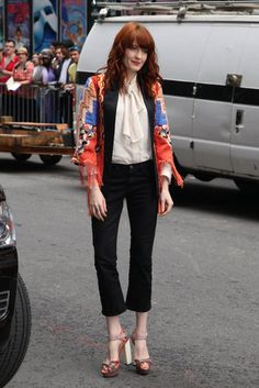 A colorful vintage jacket paired with a Fauntleroy button-up shirt! Like it!