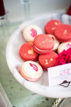 Painted lipstick macarons: http://www.stylemepretty.com/virginia-weddings/fairfax-station/2016/02/12/sassy-lipstick-libation-themed-bridal-shower/ | Photography: Sweet Root Village - http://www.sweetrootvillage.com/