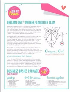 Have you heard about Origami Owl's Owelette program?  What an amazing way to spend some quality time with your daughter and teach her important business building skills.  http://loveablelockets.com - Kayla Scully - Mentor #14951 - http://kaylascully.origamiowl.com - http://fb.me/origamiowlkaylascully
