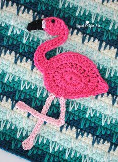 Crochet Flamingo Applique - Repeat Crafter Me Crochet Applique Patterns Free, Crochet Motif, Crochet Flowers, Crochet Stitches, Knitting Patterns, Crochet Appliques, Applique Designs, Embroidery Designs, Crochet Flamingo