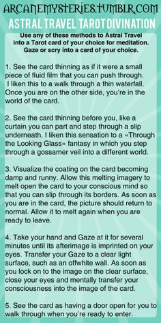 arcanemysteries: Astral Travel Tarot Divination.
