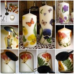 These Dried Flower Decoupage Candles would make a lovely gift. Floating Candle Centerpieces, Diy Candles, White Candles, Natural Candles, Diy Fleur, Diy Y Manualidades, Rainbow Crayon, Candle Craft, Diy Candle Holders