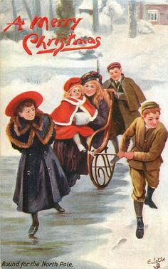 A MERRY CHRISTMAS two girls sitting on rocking-chair, one boy pushing, other boy & girl pulling them;