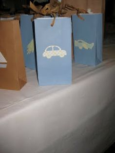 #Baby #Boy #Shower Bags to fill at #candy station & take home.