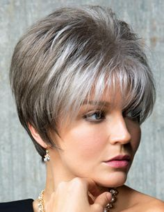 Samy Wig by Rene of Paris. A spiky, short cut with tapered nape and sides.