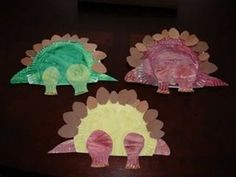 cute dinosaur craft w/paper plates.  wonder if muffin liners would make good spikes