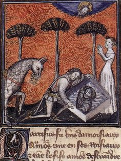 Narcissus and Echo – Illumination on parchment from Roman de la Rose c. 1380 Bodleian Library, Oxford