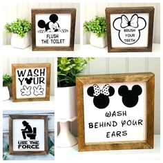 Disney Signs Disney Wood Sign Disneyland Wood Sign Mickey | Etsy Disney Sign, Disneyland Sign, Star Wars Bathroom, Disney Home Decor, Welcome Door Signs, Mickey Balloons, Laundry Room Signs, Adventures By Disney, Personalized Signs