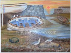 """Sunset at Low Tide"" by Nuala Holloway - Oil on Canvas Irish Art, Seaside, Oil On Canvas, Sunset, Painting, Beach, Painted Canvas, Paintings, Sunsets"