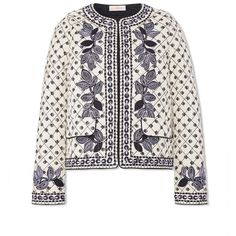 Tory Burch Tilda Jacket ($495) ❤ liked on Polyvore featuring outerwear, jackets, new ivory kingfish, ivory jacket, white jacket, cotton jacket, embroidered jacket and tory burch