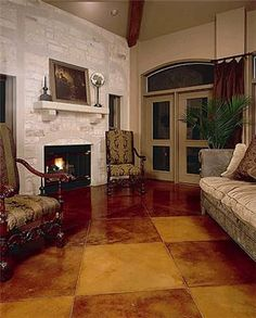 How to stain concrete, stained concrete flooring ideas and design. Photos and info on application of acid etched staining, stain techniques, sealing and maintenance of stained concrete floors. Acid Stained Concrete Floors, Painted Concrete Floors, Painting Concrete, Stain Concrete, Cement Floors, Stained Cement, Concrete Refinishing, Floor Painting, Cement Patio