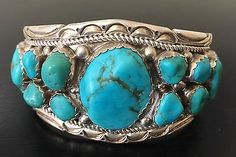 034-SIGNED-STAMPED-034-HEAVY-2-8-OZ-VINTAGE-NAVAJO-TURQUOISE-amp-STERLING-SILVER-CUFF
