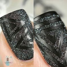 A Geometric nail-artist's dream ~ eye-catching angles and enjoyable peeling! Our Triangle Swirl Nail Vinyls make party nails a breeze. Outsides are included with each nail vinyl. Get Nails, Love Nails, Hair And Nails, Nail Art Pictures, Art Pics, Sugar Nails, Uñas Fashion, Modern Nails, Geometric Nail