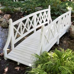 Complete your garden path with the Coral Coast Cambry Meadows 8 ft. This garden bridge is crafted with sturdy and durable Canadian hemlock. Front Yard Landscaping, Backyard Patio, Landscaping Ideas, Garden Paths, Garden Bridge, Rain Garden, Canadian Hemlock, Affordable Outdoor Furniture, Garden In The Woods