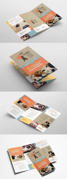 Vet Clinic Trifold Brochure Template