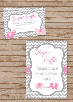 Pink and Gray Elephant Baby Shower Diaper Raffle Tickets and Table Sign