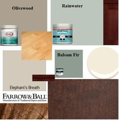 My new home has d. cherry cabinets and walnut floors with tan walls. It was far too dark! I lightened up the home with elephant's Breath on most walls with White Trim (white w/ brown undertones) The couch is brown leather but accessories and accents are in Rainwater, cream, balsam fir, and olivewood with other wood purchases in birch. neutrals with a dash of seaglass