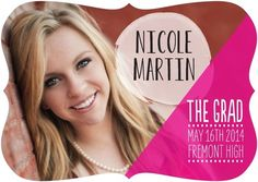 Contemporary Colors - #Graduation Announcements in a vivid Fuchsia Pink.