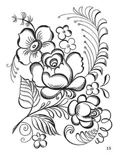 coloring pages for folk art Folk Embroidery, Embroidery Transfers, Learn Embroidery, Embroidery Stitches, Embroidery Patterns, Rose Patterns, Simple Embroidery, Painting Patterns, Fabric Painting