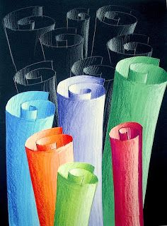 Colored pencil scrolls for shading and highlights.