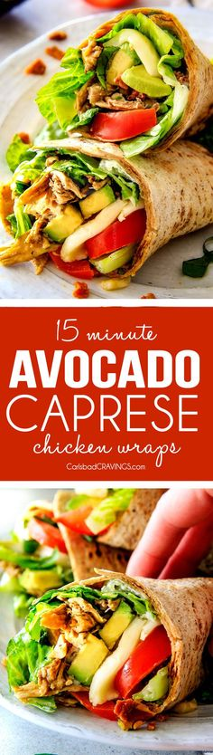 15 MINUTE Avocado Caprese Chicken Wraps - I am completely addicted to these wraps and they are totally easy and healthy! they are loaded with the most amazing balsamic chicken, juicy tomatoes, milky (Sandwich Recipes For Work) Avocado Recipes, Lunch Recipes, Dinner Recipes, Cooking Recipes, Healthy Recipes, Sandwich Recipes, Healthy Foods, Dinner Ideas, Chicken Wrap Recipes