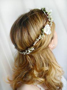white flower hair wreath, white rose wedding hair accessories - ANGEL HAIR - bridal hair accessories, flower girl circlet, floral