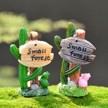 2 pcs Cactus Outdoor Poste de Sinalização de Fadas Estatuetas de Jardim Em Miniatura Terrário Tonsai Gnomos de Jardim Zakka Deak Ofício da Resina Decoração Da Casa(China (Mainland))