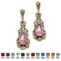 Oval-Cut Birthstone Drop Earrings in Antiqued Yellow Gold Tone - $12.95