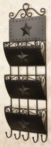 New Primitive Country Black Star Mail Holder Letter Bill Wall Rack | eBay